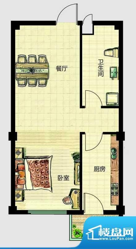 华安国际现代城B户型面积:51.00平米