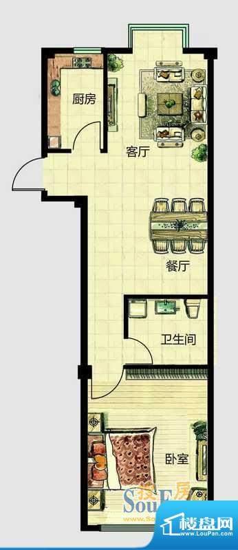 华安国际现代城C户型面积:69.00平米