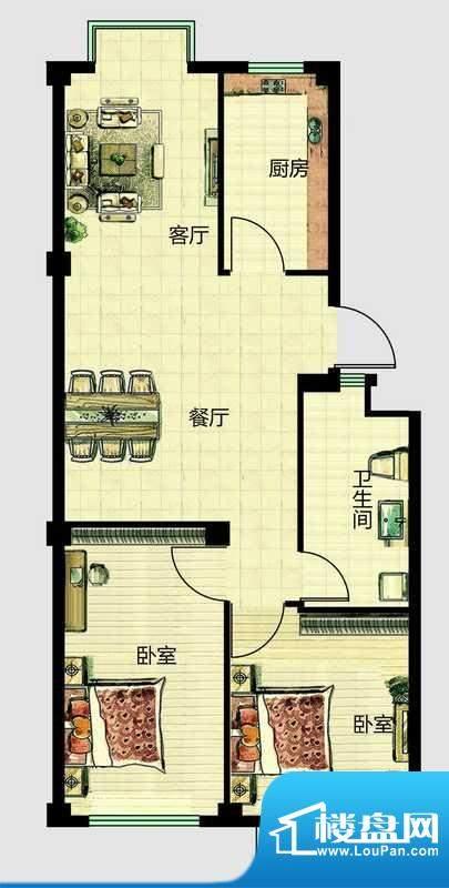华安国际现代城E户型面积:76.00平米