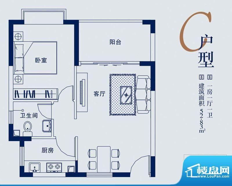 蓝山湖C户型 1室1厅面积:52.83平米