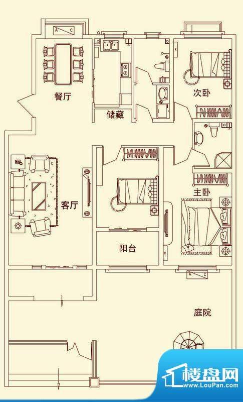 盛龙国际普通花园洋面积:138.94平米