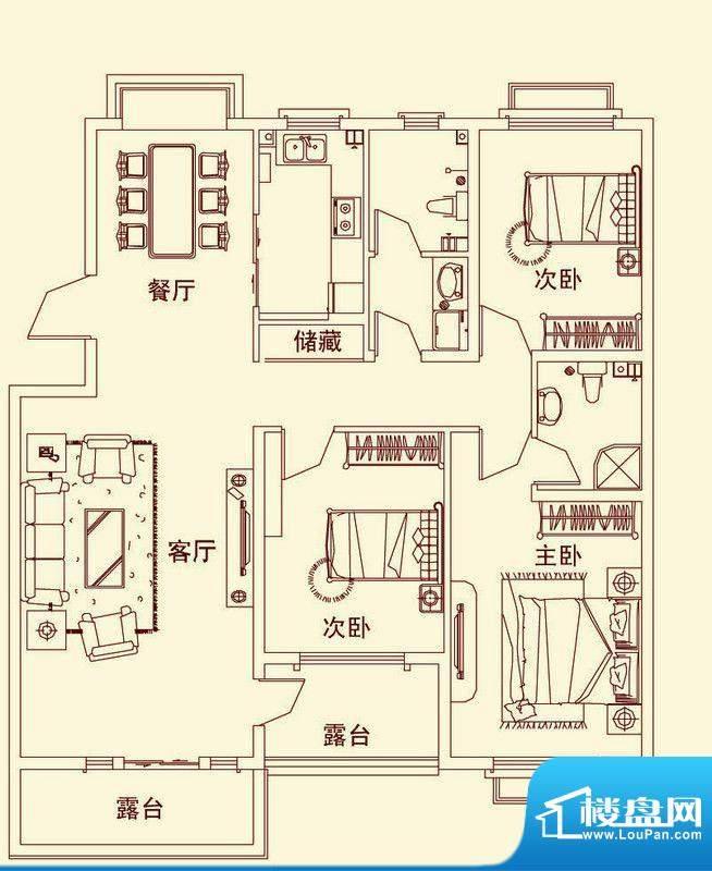 盛龙国际普通花园洋面积:125.16平米