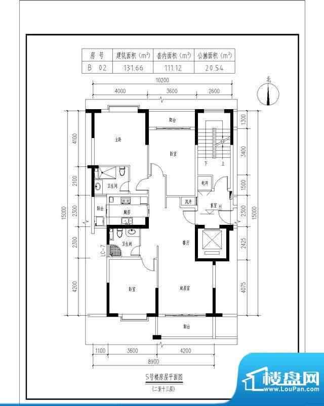翠玉园新区5#楼B02户面积:131.66平米