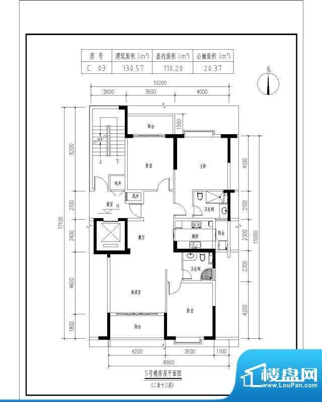 翠玉园新区5#楼C03户面积:130.57平米