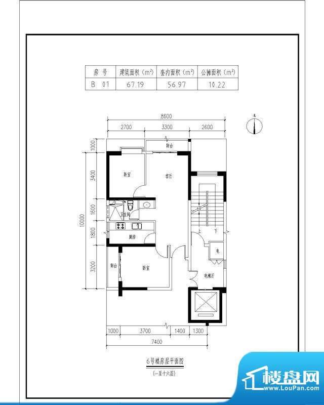 翠玉园新区6#楼B01户面积:67.19平米