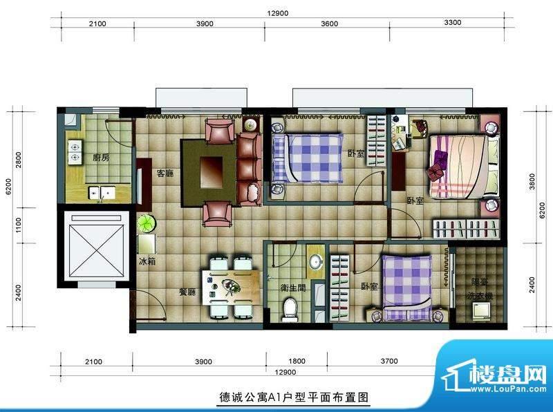 德诚公寓A1户型平面面积:86.06平米