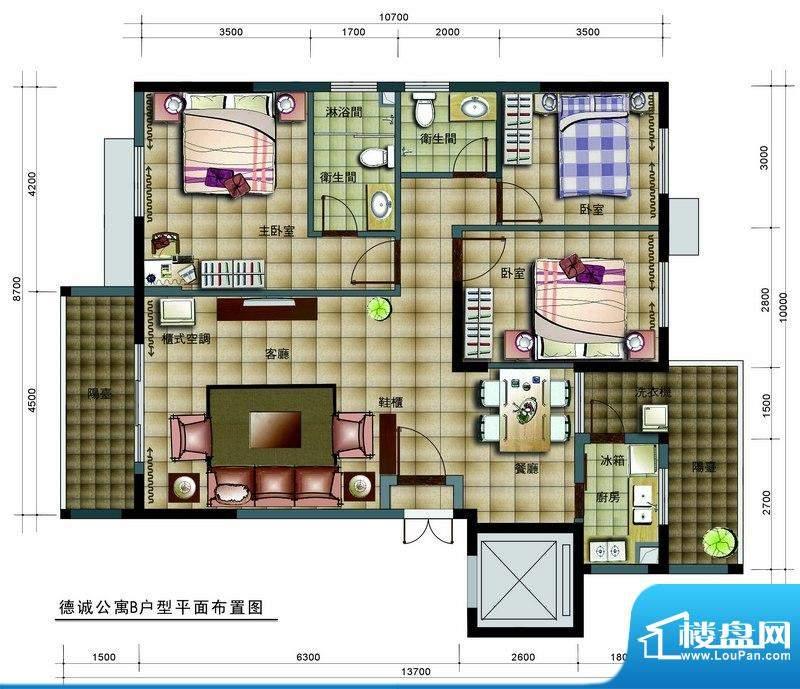 德诚公寓B户型平面图面积:119.66平米