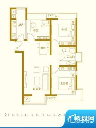 玺萌橘子洲二期J3户面积:92.76平米