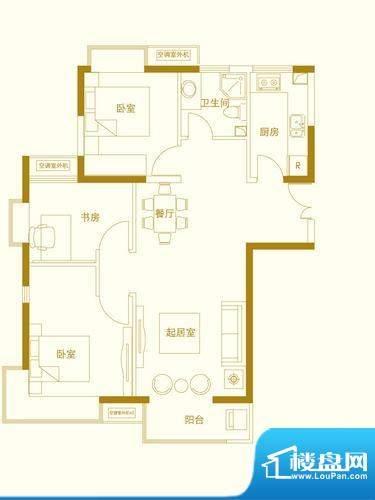 玺萌橘子洲二期C3户面积:91.51平米