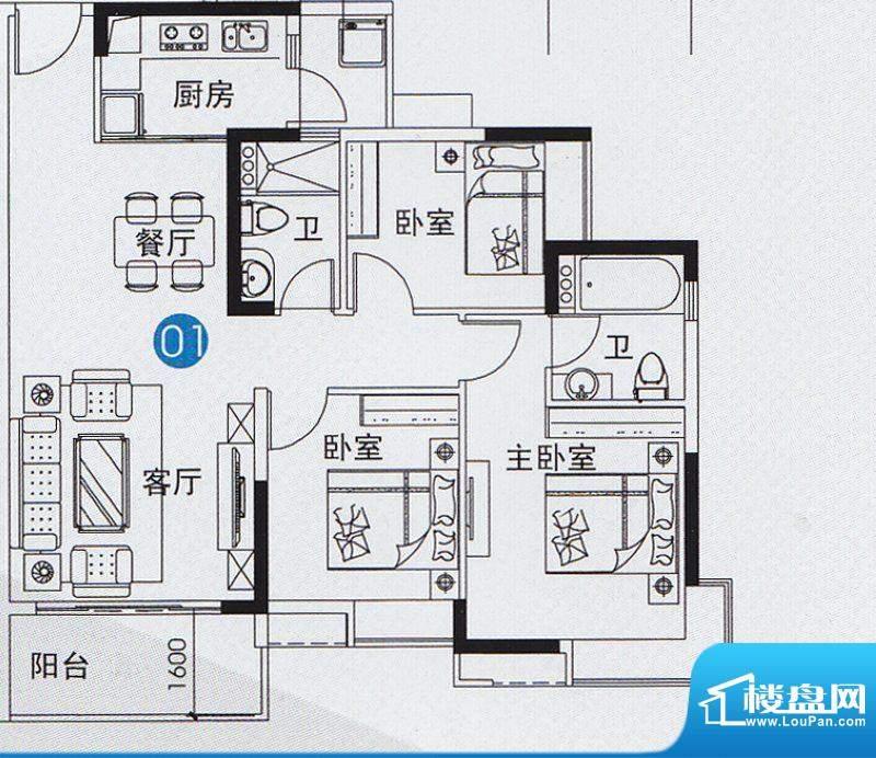 尚上名筑A3栋01单位面积:105.00平米