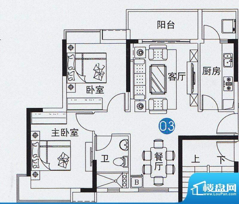尚上名筑A3栋03单位面积:83.00平米