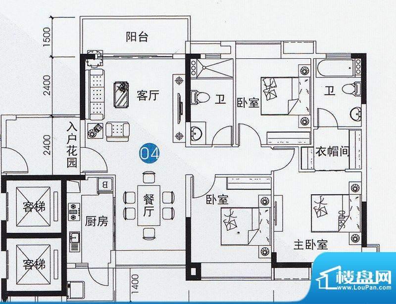 尚上名筑A3栋04单位面积:126.00平米