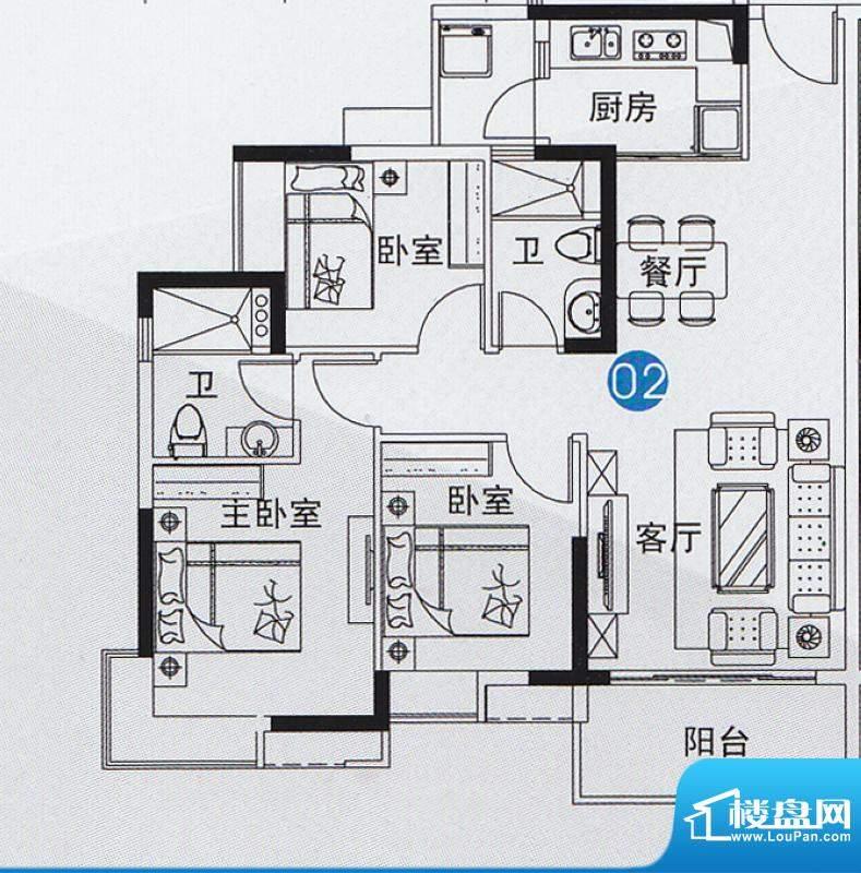 尚上名筑A3栋02单位面积:97.00平米