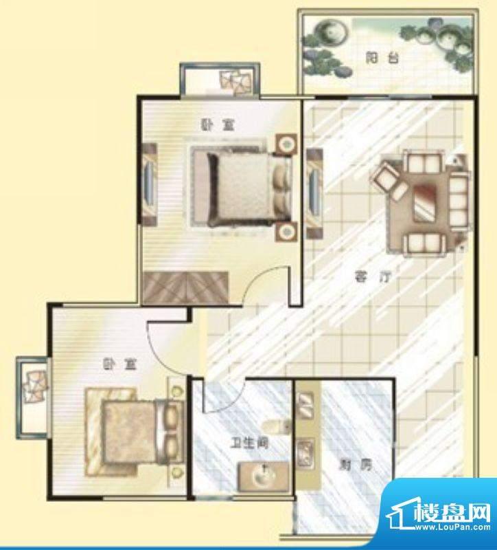 银河金座C户型 2室2面积:69.00平米