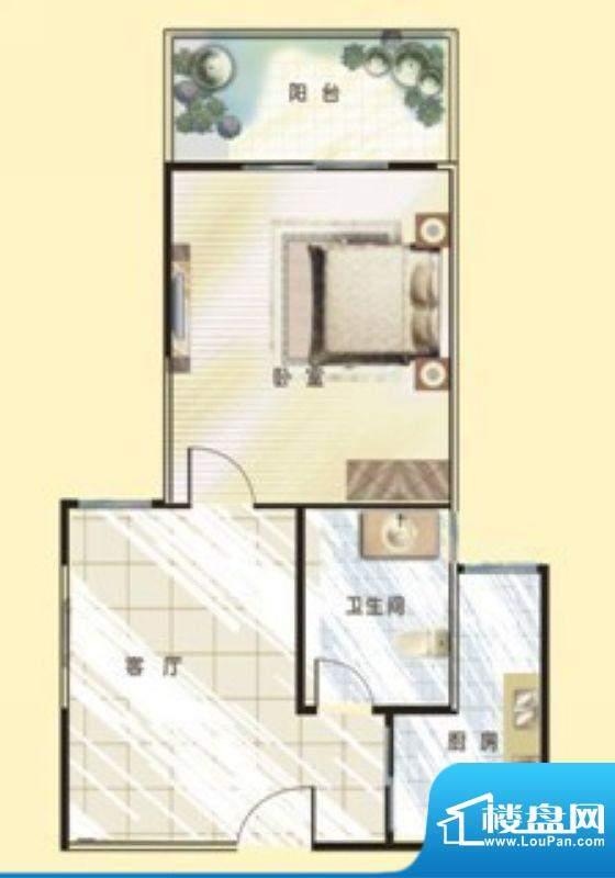 银河金座E户型 1室1面积:44.99平米