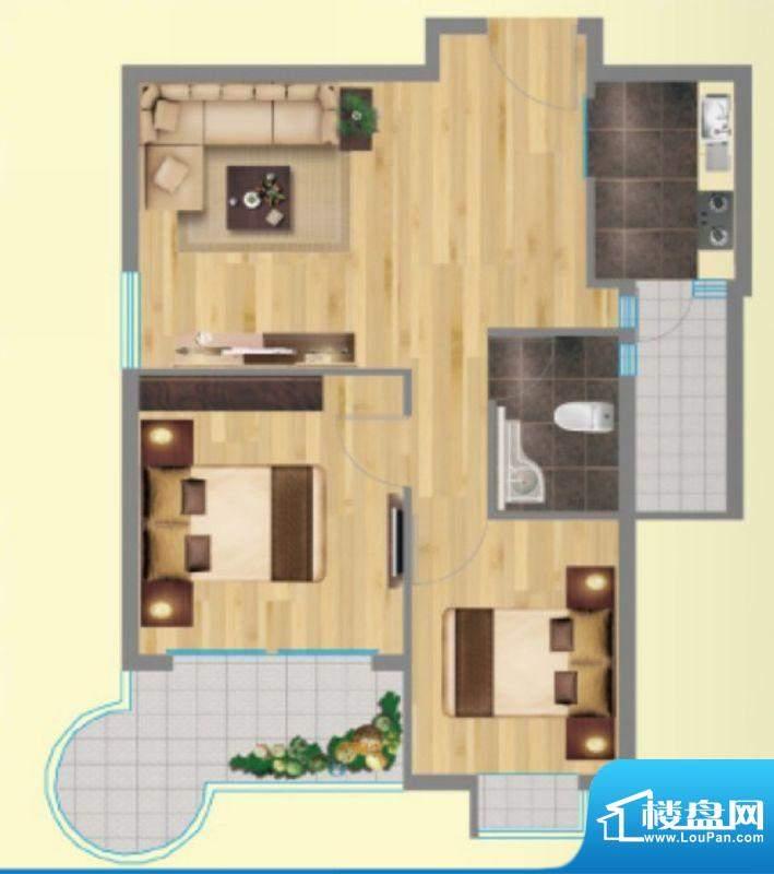 金海岸1号3户型图 2面积:59.00平米