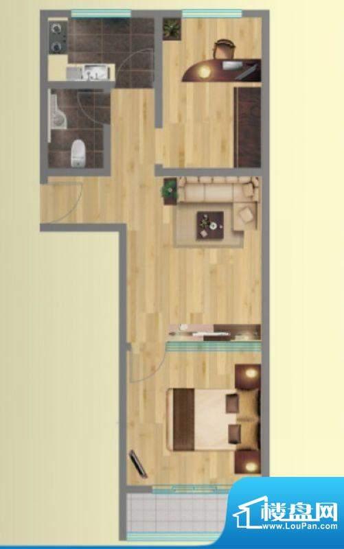 金海岸1号4户型图 2面积:64.89平米