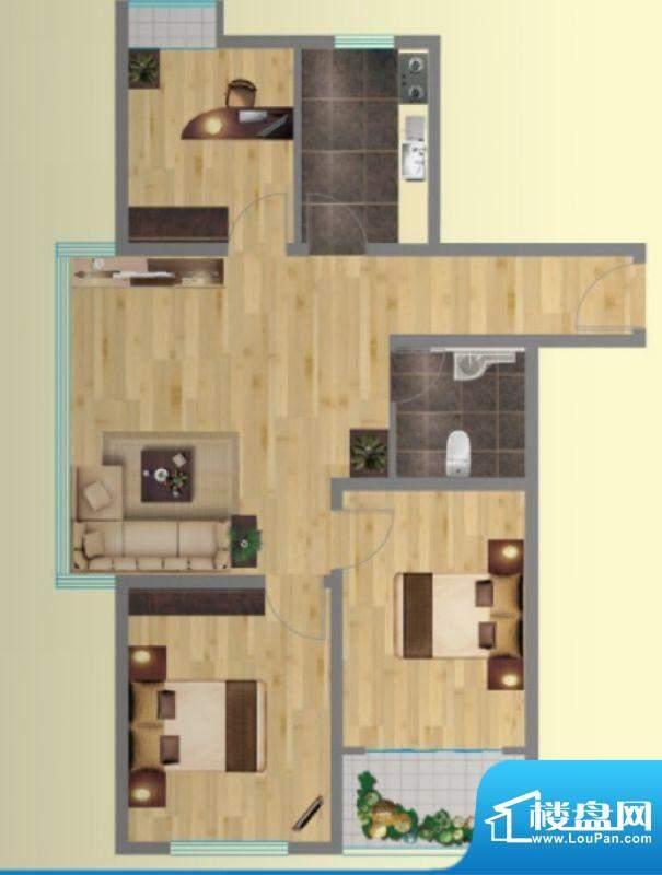 金海岸1号8户型图 3面积:96.08平米