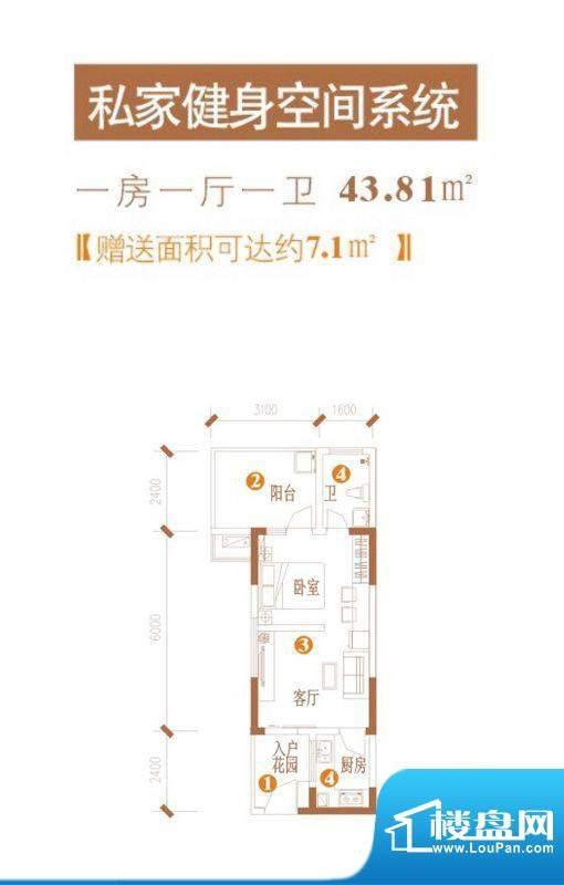 水晶公园私家健身空面积:43.81平米