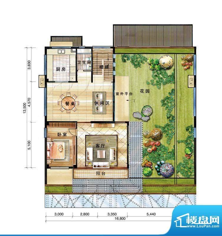 信基颐和湾A户型二层面积:127.00平米