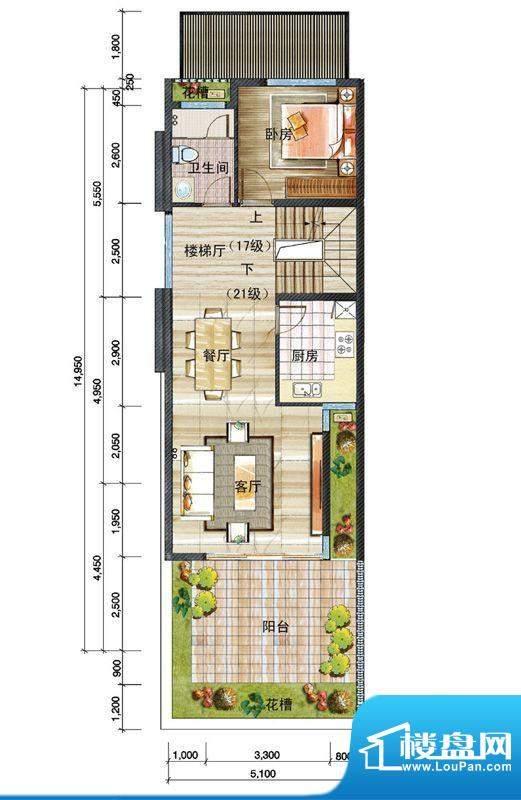 信基颐和湾D户型二层面积:64.00平米
