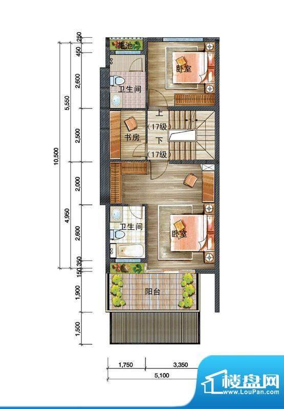 信基颐和湾D户型三层面积:56.00平米