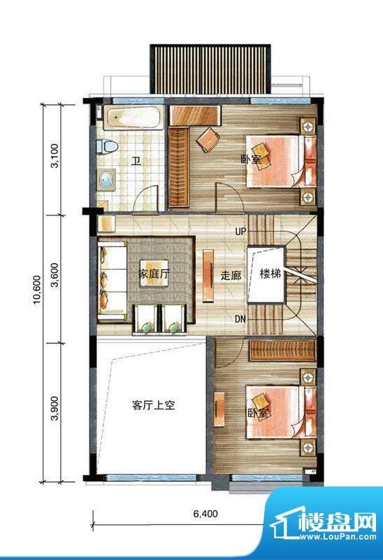 信基颐和湾E户型二层面积:60.00平米