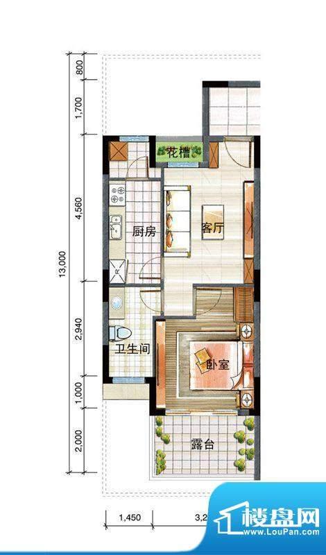 信基颐和湾G9户型 1面积:55.00平米