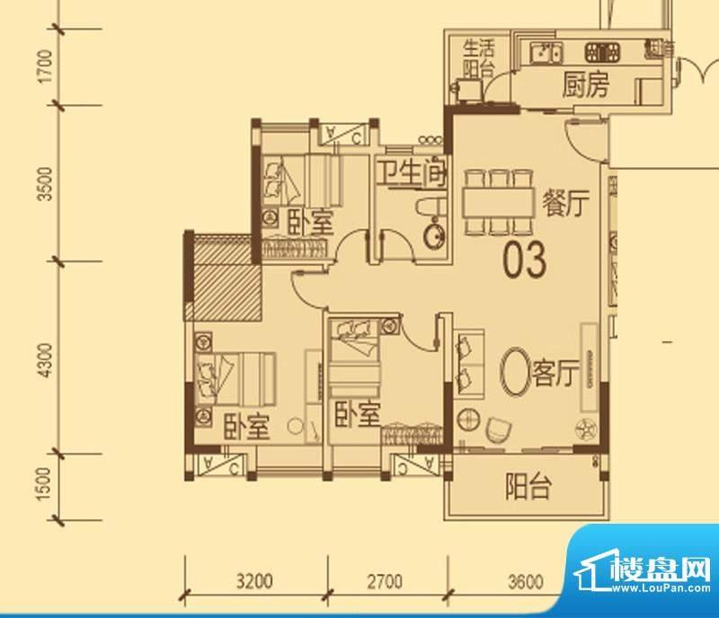 天马河壹号2期·帝景面积:91.26平米