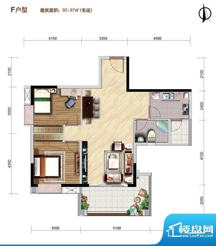 好美华庭F户型 2室2面积:93.00平米