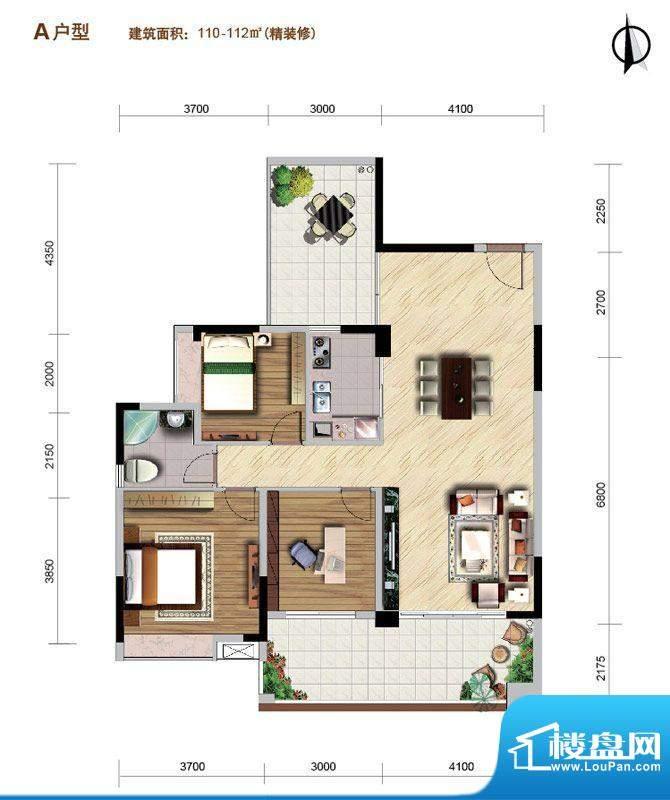 好美华庭A户型 3室2面积:110.00平米
