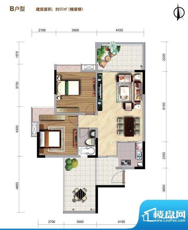 好美华庭B户型 2室2面积:93.00平米