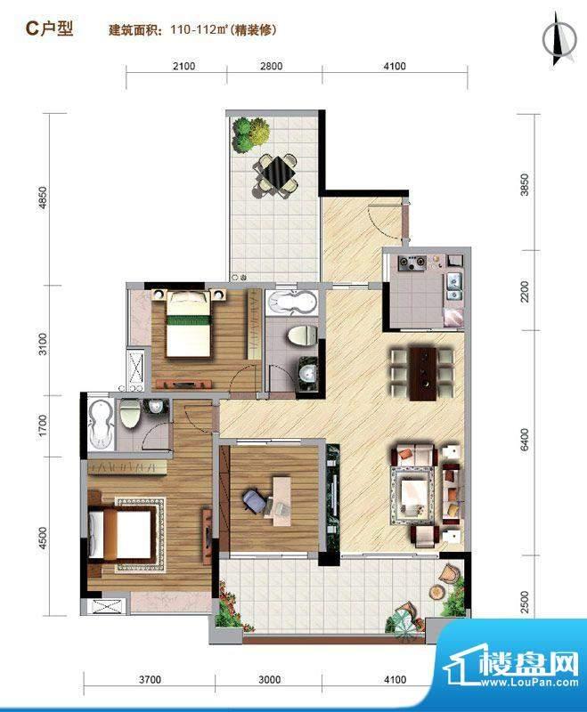 好美华庭C户型 3室2面积:110.00平米
