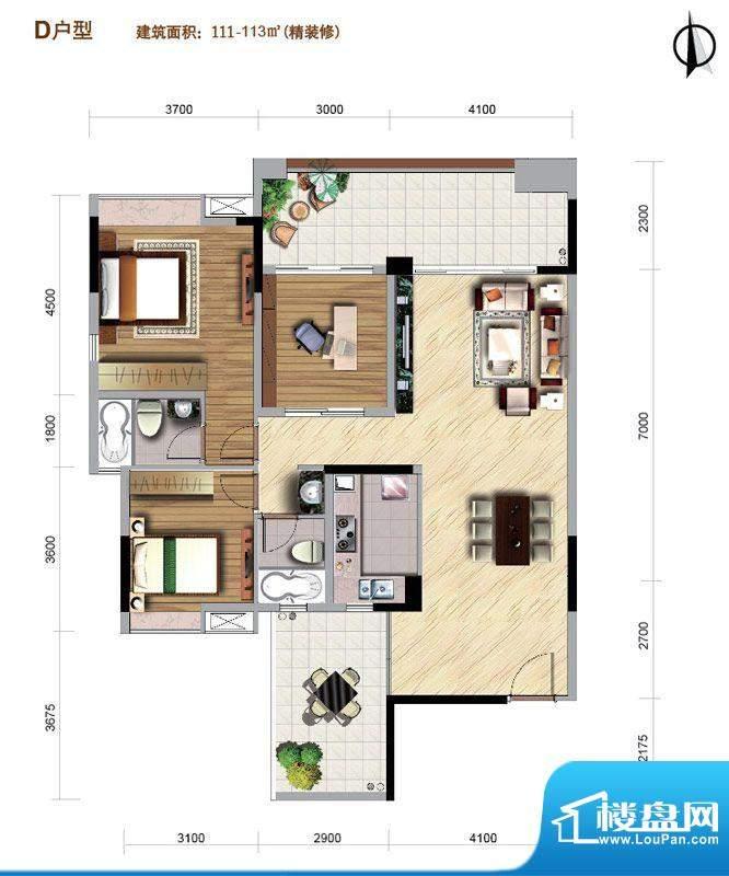 好美华庭D户型 3室2面积:111.00平米