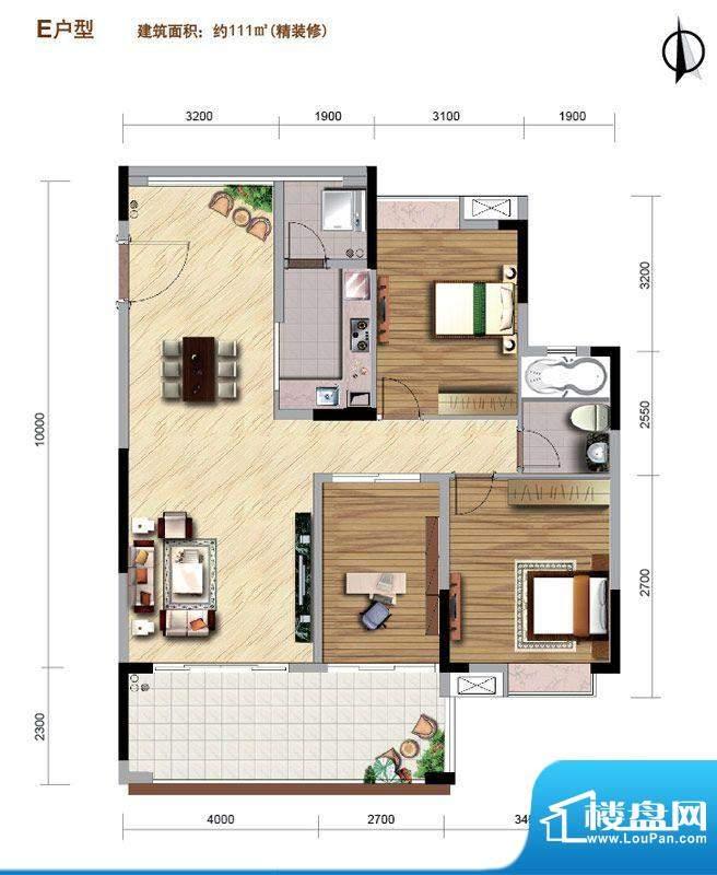 好美华庭E户型 3室2面积:111.00平米