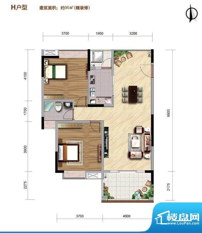 好美华庭H户型 2室2面积:95.00平米