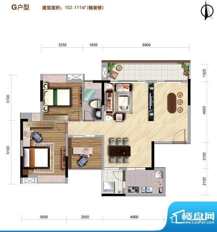 好美华庭G户型 3室2面积:102.00平米