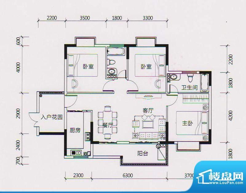 学府雅苑8、9栋A1户面积:121.00平米