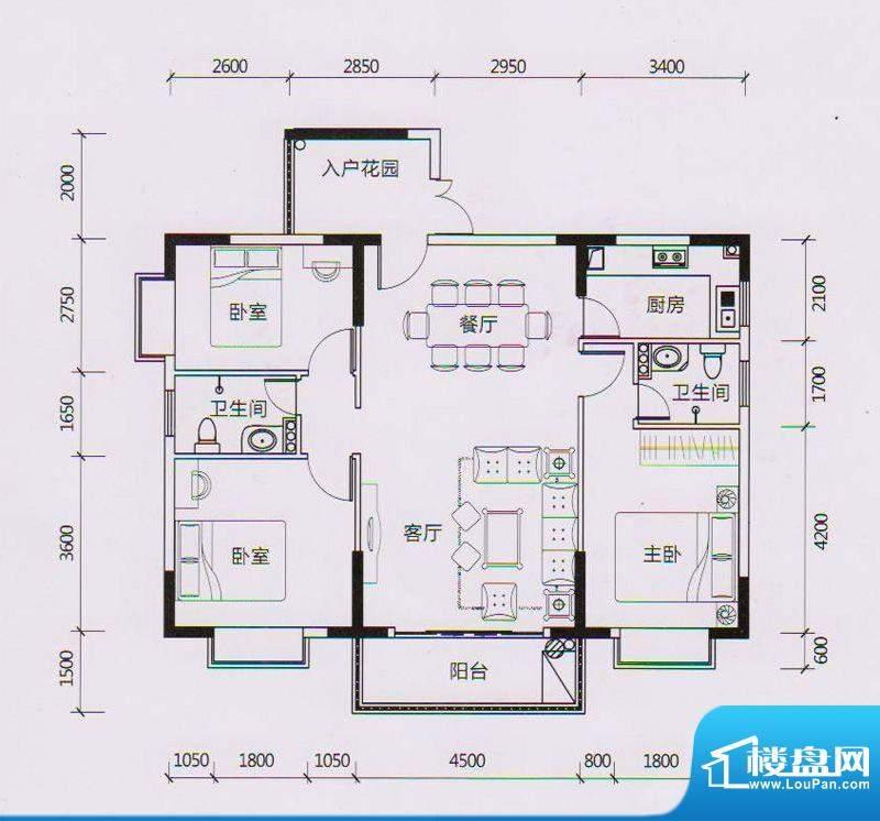 学府雅苑8、9栋B1户面积:118.00平米