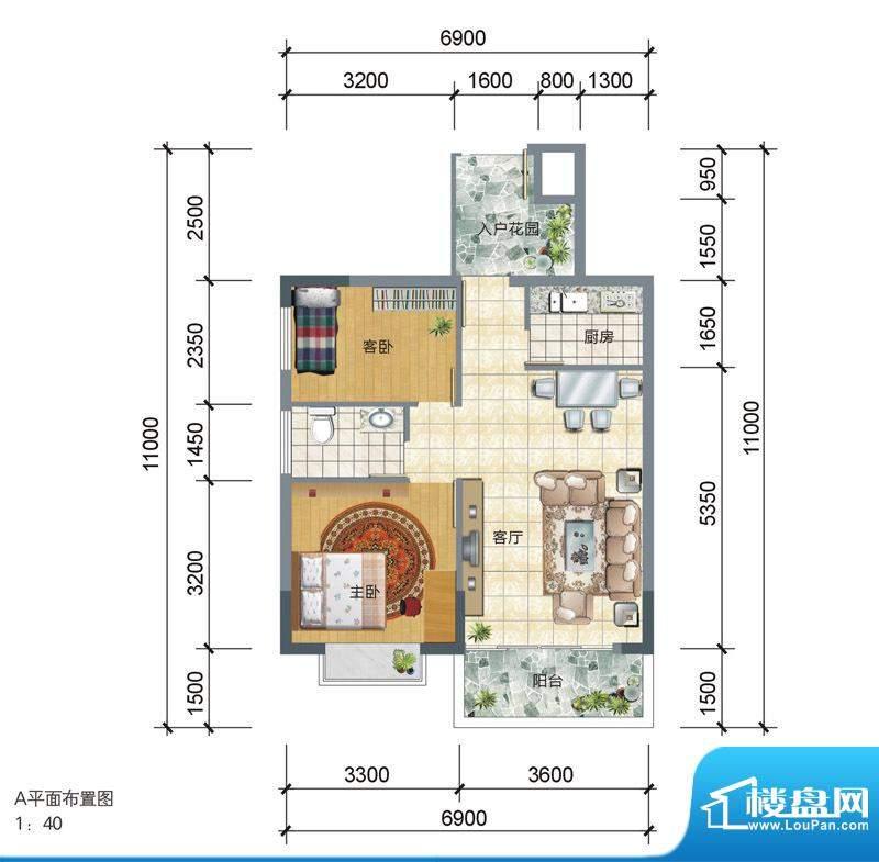 学府雅苑1期3、4号楼面积:65.18平米
