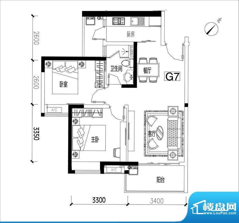君华香柏广场G7 2室面积:78.12平米