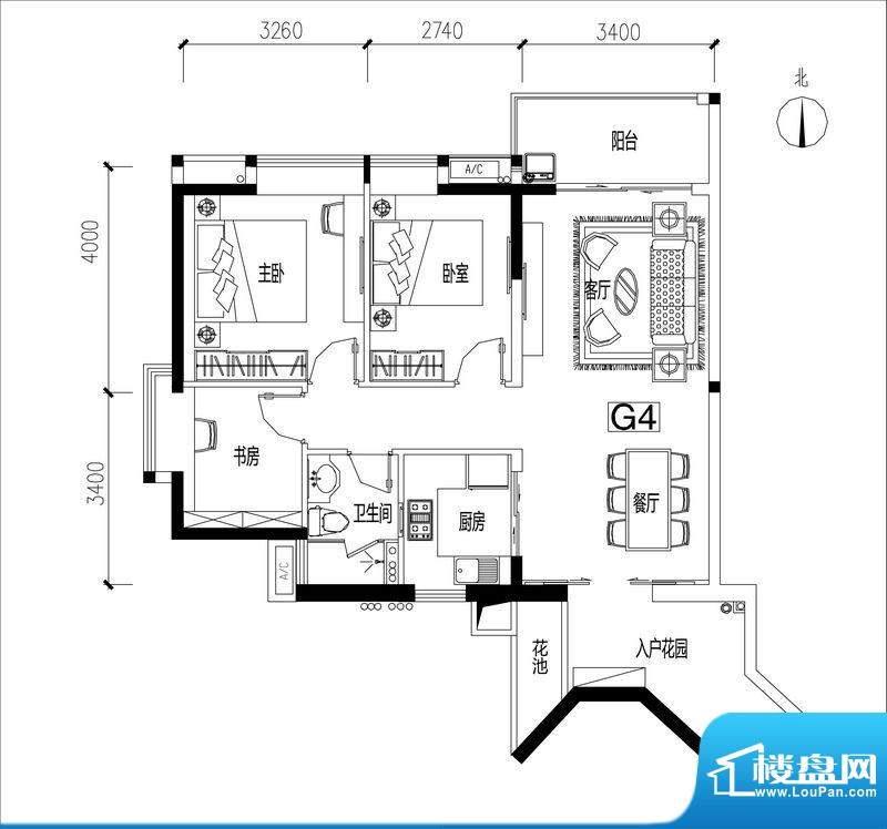 君华香柏广场G4 3室面积:90.93平米