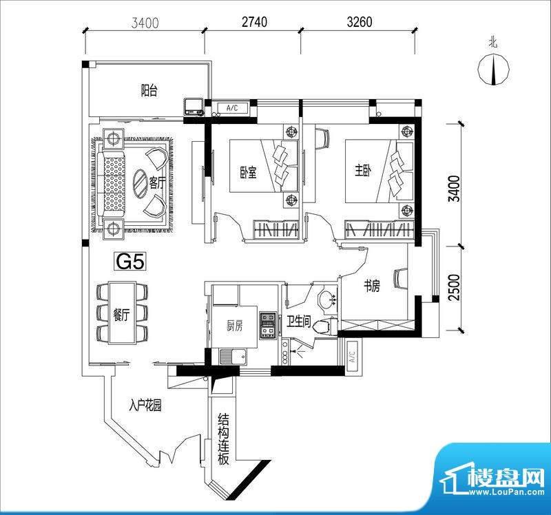 君华香柏广场G5 3室面积:89.72平米