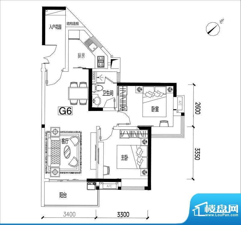 君华香柏广场G6 2室面积:77.19平米