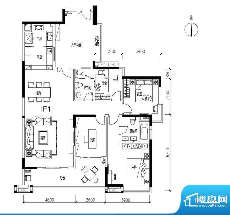 君华香柏广场F1 4室面积:159.17平米