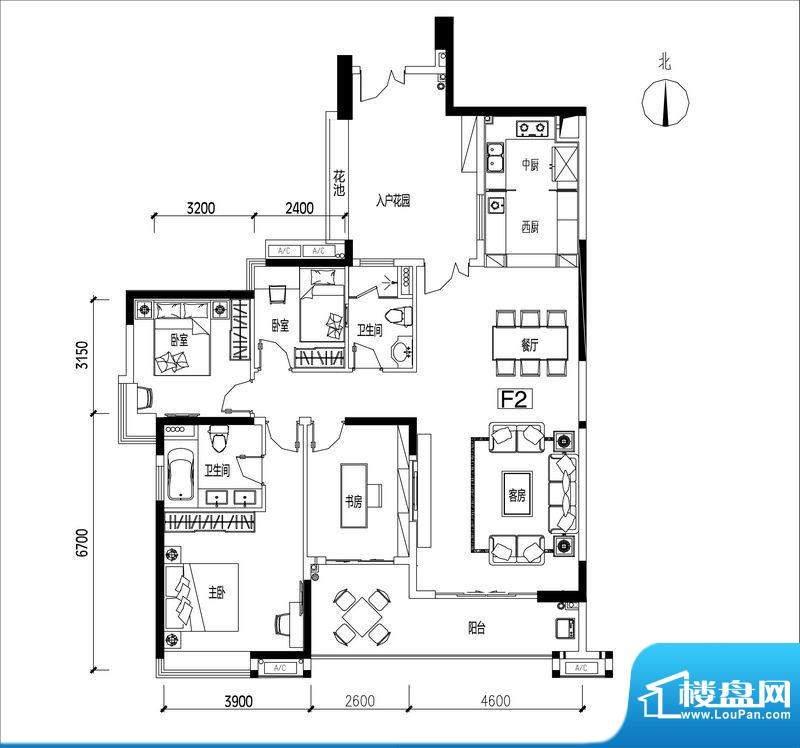 君华香柏广场F2 4室面积:159.17平米