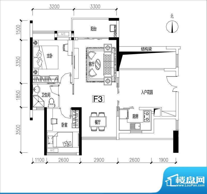 君华香柏广场F3 2室面积:80.41平米