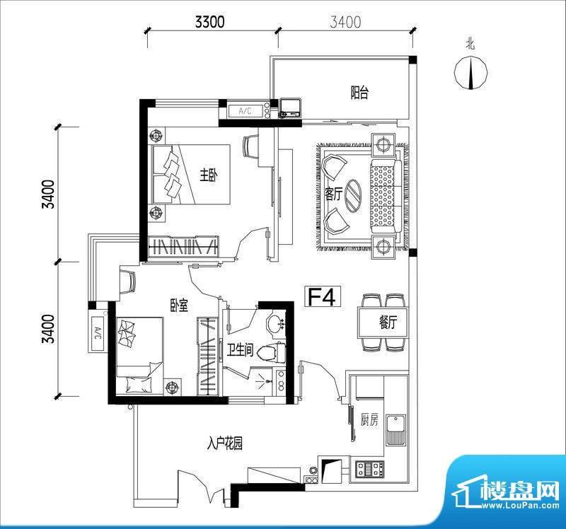 君华香柏广场F4 2室面积:78.06平米