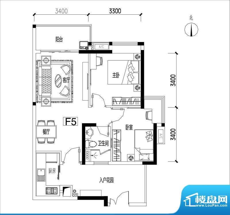 君华香柏广场F5 2室面积:78.06平米