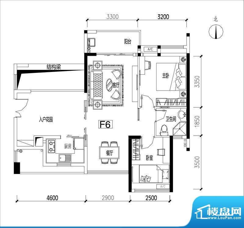 君华香柏广场F6 2室面积:80.41平米